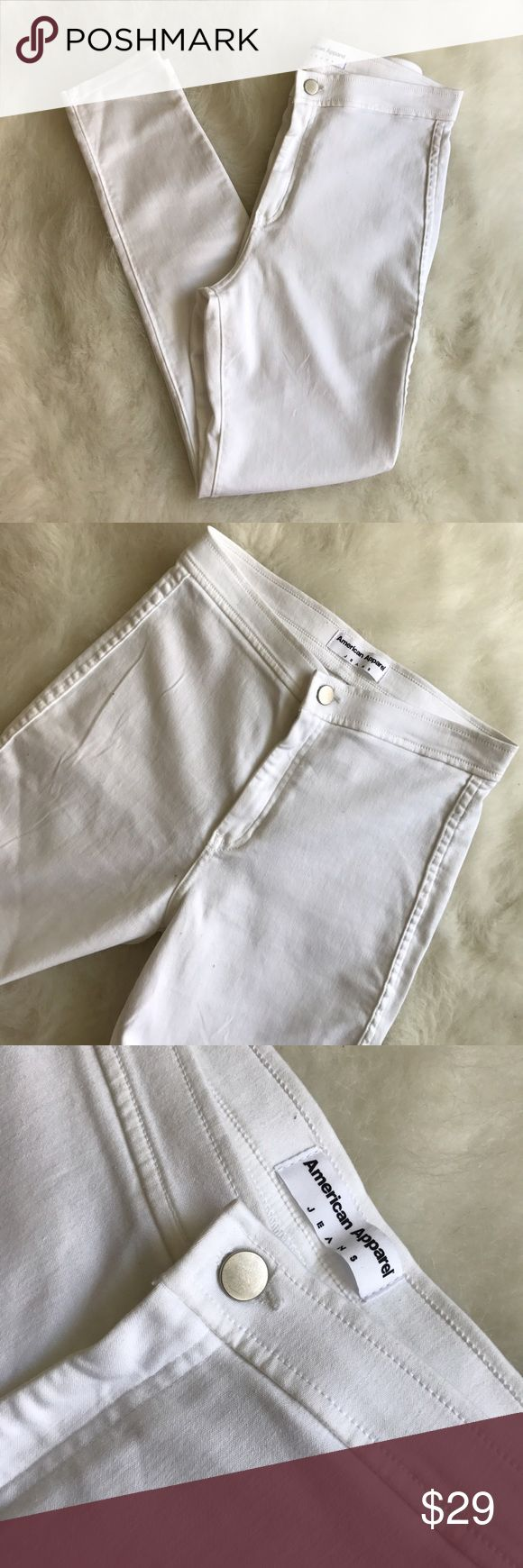 American Apparel High Waist White Skinny Jeans❤️ American Apparel High Waist White Skinny Jeans❤️ Condition: NWOT Size: L  Inseam: 29 Waist: 13 Trendy summer jeans 👖 high waist & perfect to pair with your fav heels or crops tops.Take these to Coachella! Jeans are NWOT I bought them & they fit me big I'm more of a medium pants size I wear a size 3-5 so this would fit best 7-9. No stains & no tears. Jeans are very stretchy and back pockets are real! Grab this while you can 😄  In Bin: PE…