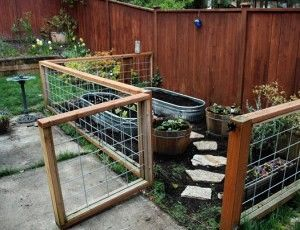 Little gated container garden. Great way to make a garden in  space shared with kids and pets.