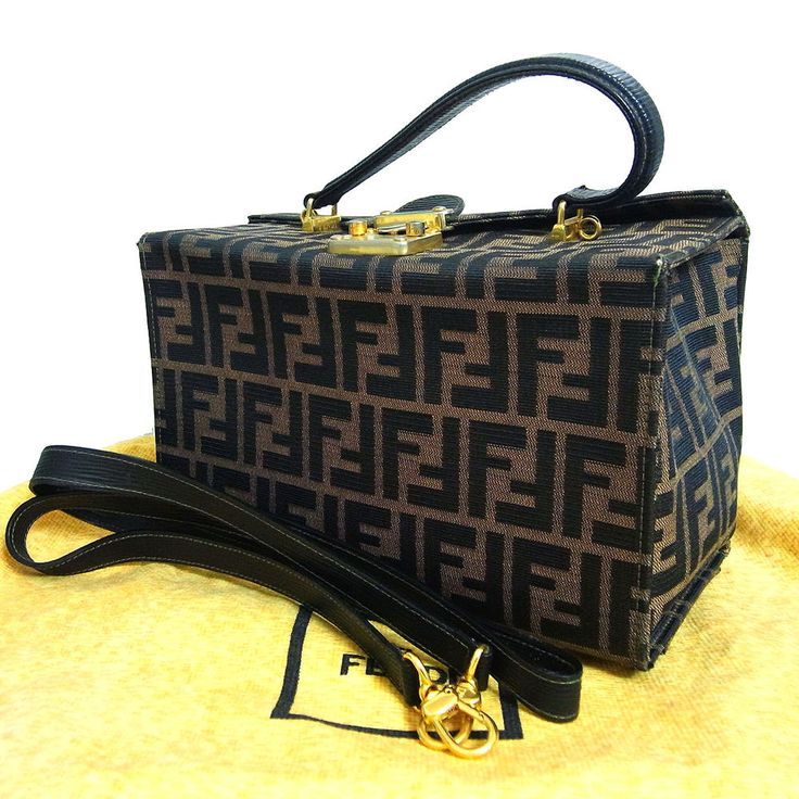 ... top quality auth fendi zucca vanity hand bag purse w shoulder strap  brown canvas italy fendi ... ee91bc2db7771
