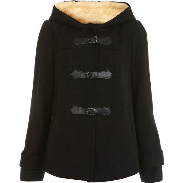 Petites Black Duffle Coat (59 BRL) ❤ liked on Polyvore featuring outerwear, coats, jackets, black, casaco, women, miss selfridge coats, miss selfridge, duffle coats and petite coats