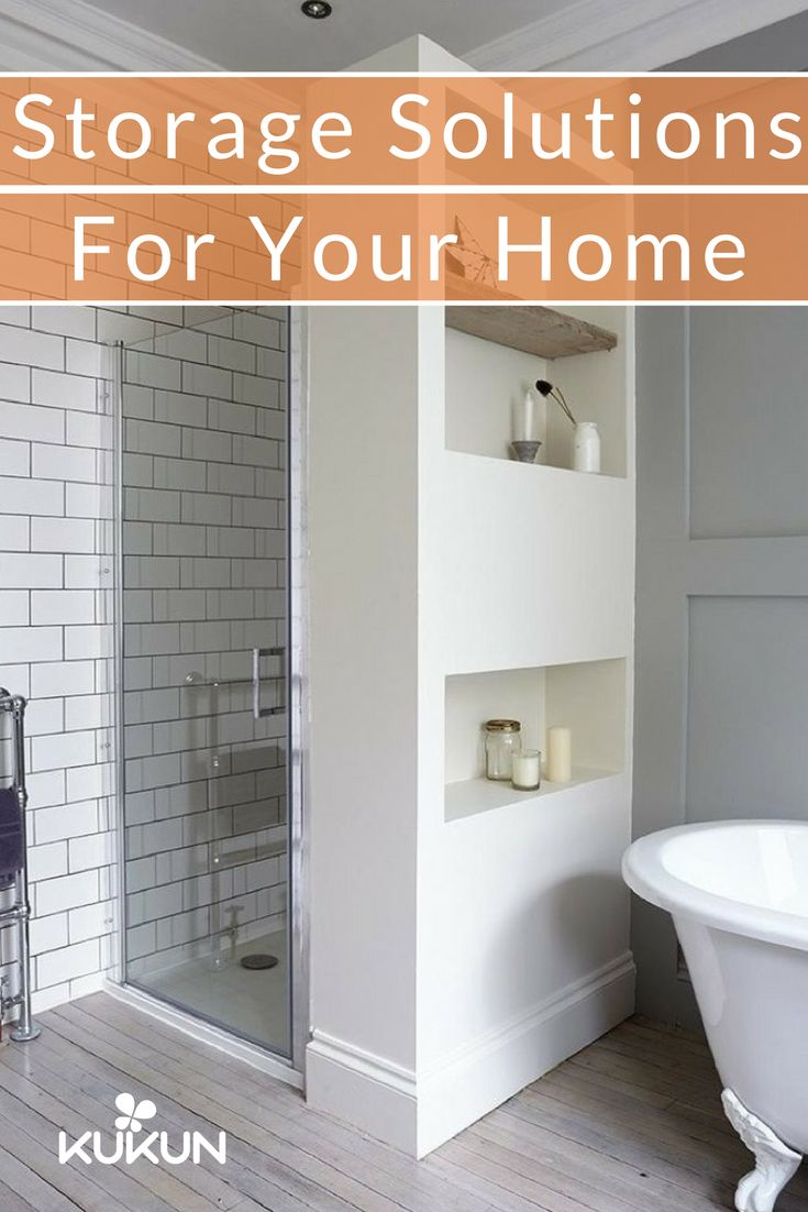 Non-structural or dividing walls or furniture are perfect for carving out alcoves that can be used for extra storage! Check out more storing tips in our guide! [Clutter Solutions, Space Organization Tips, Interior Design Tips, Clutter Free Home, Modern Scandinavian Bathrooms, Glass Shower Door, Built In Shelves, Bathroom Alcove]