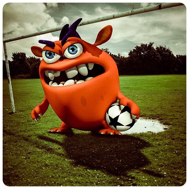 Madu the Monster, ready to kick some grass. Challenge Madu the Monster to be the champ in Space Sports' Goaly Moley! #bethechamp #soccer #football #grass #cloudy #goalymoley #monster #park #spacesports