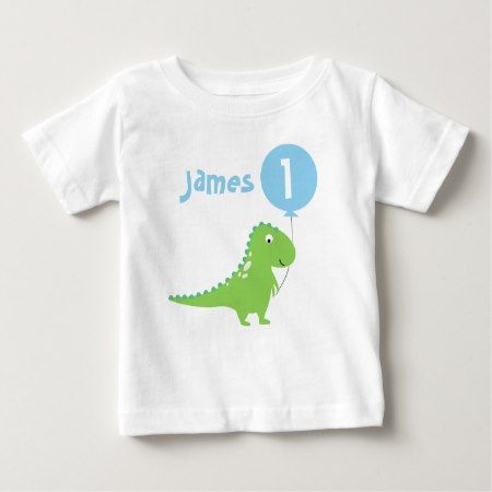 Boys Dinosaur Balloon 1st Birthday T Shirt - click to get yours right now!