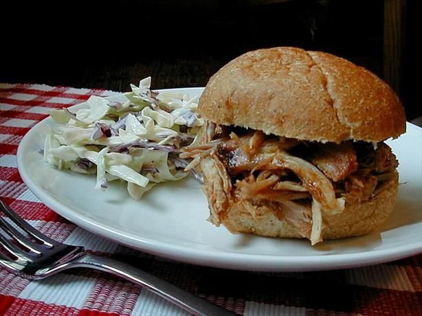 So It s Bekah s Pulled Pork Now from Food.com: I have adopted this recipe from Mean Chef. This is one of my favorite recipes. The pork is sweet, succulent and falling apart tender. Fabulous served alone, on rolls, in tortillas.