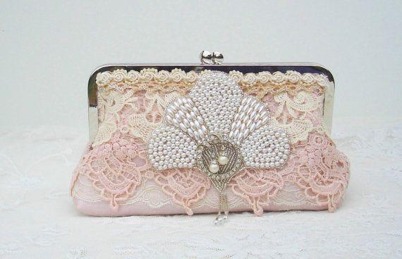 French Vintage Pink Dupioni silk bridal handbag by Petite Vintage