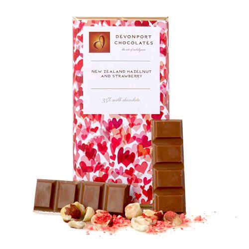 Hazelnut Strawberry Milk Chocolate Tablet - Devonport Chocolates