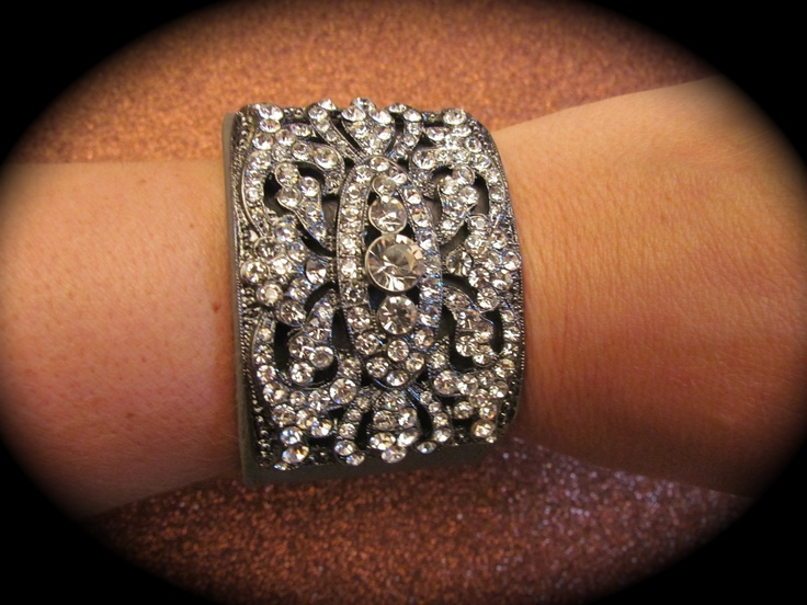 Grey leather band bracelet with bling