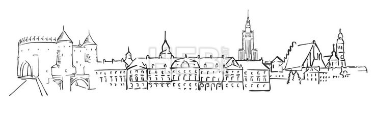 Warsaw, Poland, Panorama Sketch by Hebstreit #stockimage #vector #capital #travel #sign #beautiful #famous #architecture #landmark hebstreit