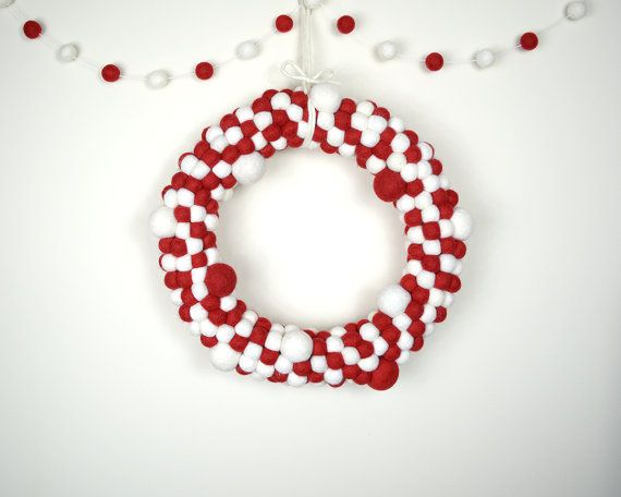 Red and White Wreath and Garland Pack by AzaleaCottageCrafts. Great for Christmas Decor, give as a lovely gift