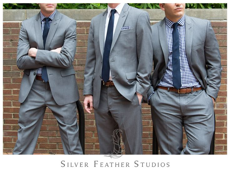 Grey j crew groomsmen suits with blue plaid shirts and for Navy suit checkered shirt