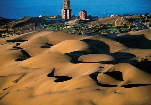 YannArthusBertrand2.org - Fond d écran gratuit à télécharger    Download free wallpaper - Champs de dunes bordant la ville de Concón, Chili (32°55' S - 71°31' O).