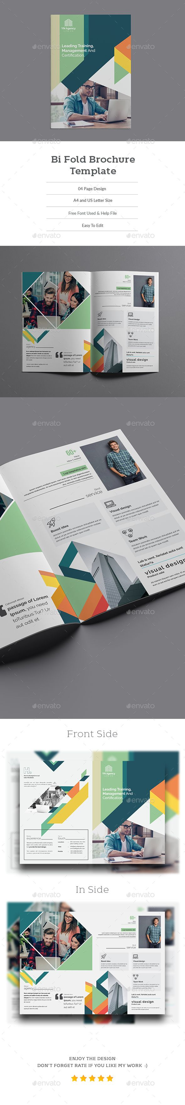 Bi Fold Brochure Template Feature:  A4 & letter Size Tri-Fold Brochure Optimized for printing. 0.125 IN Bleed Included For Both A4 & Letter size. CMYK color mode. INDD, INDT & IDML Files Included. Free but High Quality Commercial Looking Fonts Used in This Design. Images are not Included, These are For just Preview purpose. Help Guide...  search tag: #Bi Fold #Brochure #Template - #Corporate #Brochures