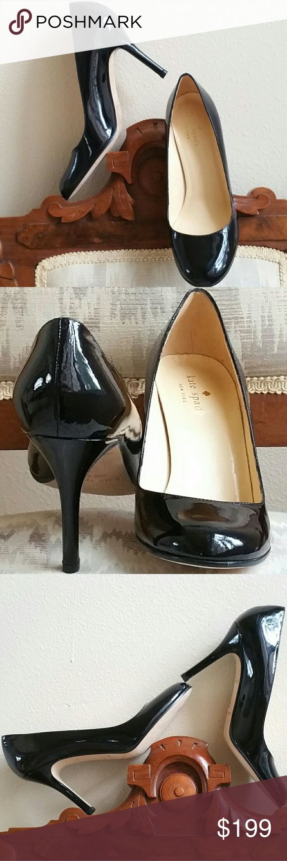 Kate Spade NWOT Patent Leather Heels Kate Spade NWOT Patent Leather Heels. NEVER WORN. Not a scuff in sight! Absolutely gorgeous shoes in the perfect height and a fabulous compliment to your business suit by day and little black dress by night. You will love these shoes! Pics are of actual shoes for sale. The patent leather looks like glass! 10L 3W 2.5H. Kate Spade Shoes Heels
