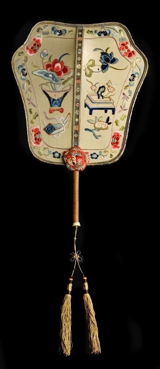 Empress Cixi's Fan, late 18th-19th century (Qing Dynasty 1644-1911), China. Composed of silk and bamboo. In the Vatican Museums, Vatican City. Empress Dowager Cixi (1861-1908) is widely recognised as one of the most powerful women in the history of China.