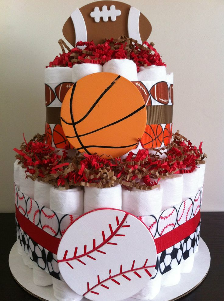 2 Tier Sports Diaper Cake Boy Baby Shower by BabeeCakesBoutique, $45.00