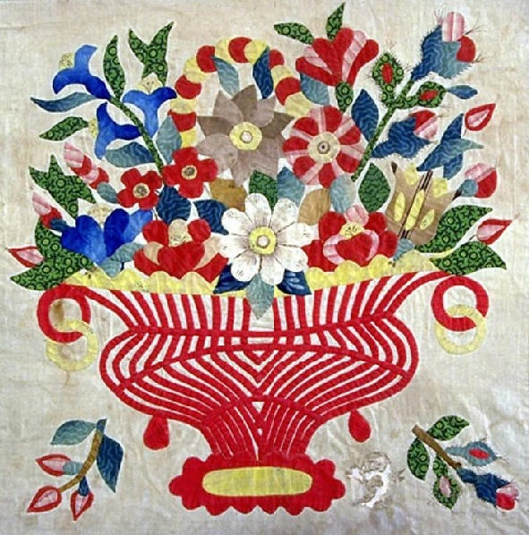 Baltimore Album Quilt detail, 1847. Made for Rev. Nadal. Baltimore, Maryland. Smithsonian Institution.