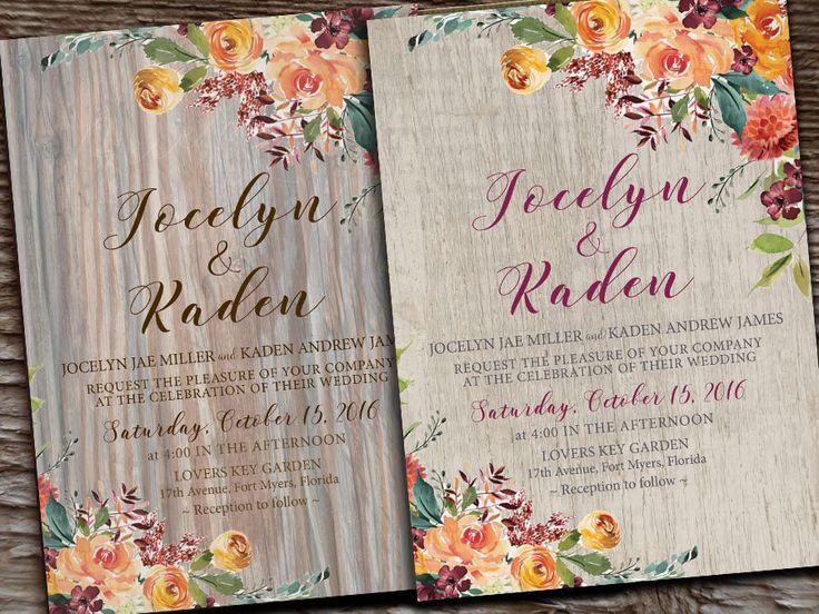 Autumn Fall Gold Burgundy Plum Floral Wedding Invitations