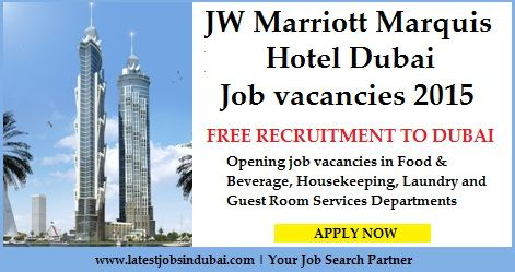 Jobs in JW Marriott Marquis Hotel Dubai. Available vacancies are Waiter, Chef, Bartender, Front Office, Female Banquet Server, Room Attendant, Hostess, Room Dining Manager, Housekeeping, Room Service Waiter, Laundry Attendant, Order Taker, Tailor, Guest Service etc. Click on the given image to apply for the job