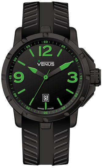 Case Material: Black PVD coating on 316L stainless steel Diameter: 44 mm Thickness: 12.65 mm  Water Resistance: 100 meters (330 feet) Dial: Matt black with green super luminous Arabic numerals and indexes Hands: Black and green super luminous Crystal: Sapphire Case-back: Secured by 6 screws Crown: Screw - locked with side protections and a recessed rhombus logo  Internal telescopic mechanism for crown axle protection Strap: Anti-allergic black rubber