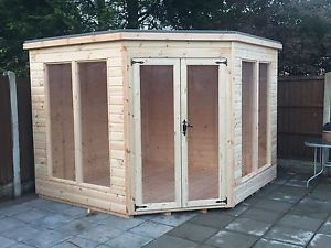 7x7 tg corner summer house modern wooden garden shed log cabin