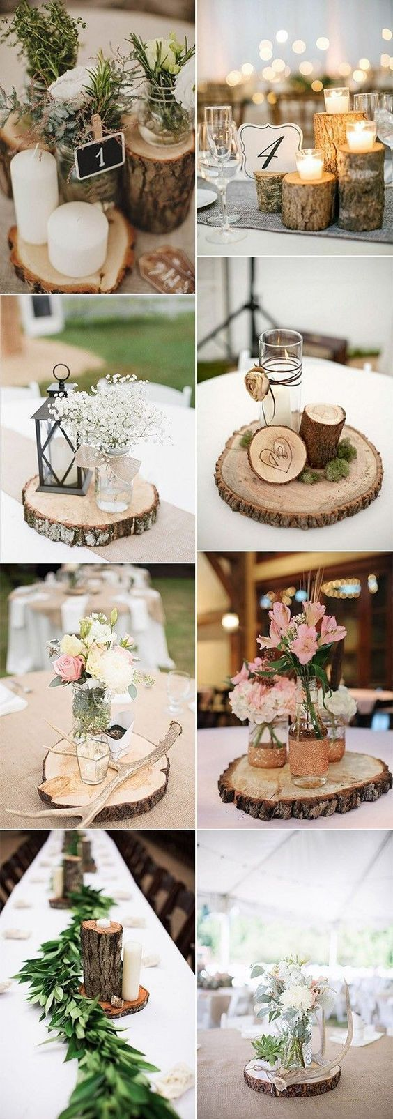 country rustic wedding centerpiece ideas with tree stumps #weddingideas #wedding…