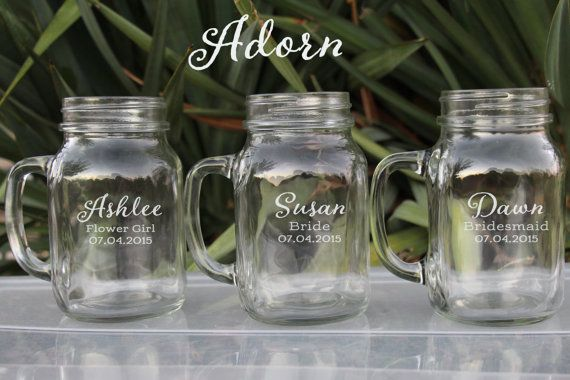 Bridesmaid Gift, Personalized Bridesmaid Gifts Any Quantity Large 21oz Mason Jar, Personalized Glasses, Wedding Glasses, Gift for Bridesmaid, Flower Girl  $11.50