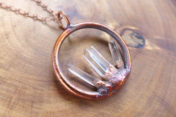Quartz Crystal Necklace, Crystal Pendant, Raw Crystal Jewelry, Electroformed, Copper Jewelry, Quartz Point, OOAK