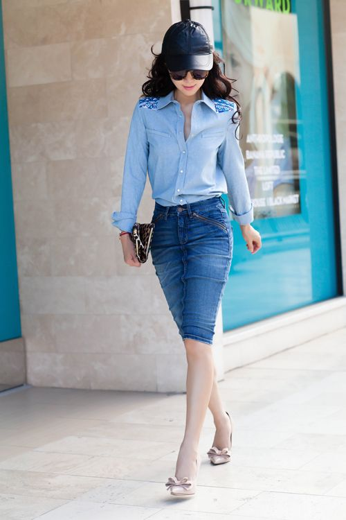 Gryphon NY Western Chambray Shirt Jeans With Skirt Pencil