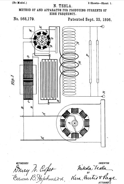 Pure Genius. The original patent for Alternating Current by Tesla. He handed it over to Westinghouse to save Westinghouse's company and died a pauper. JP Morgan ended up with the patent to build his company General Electric. Where is the next Tesla? We need you. Just hold onto your patents.