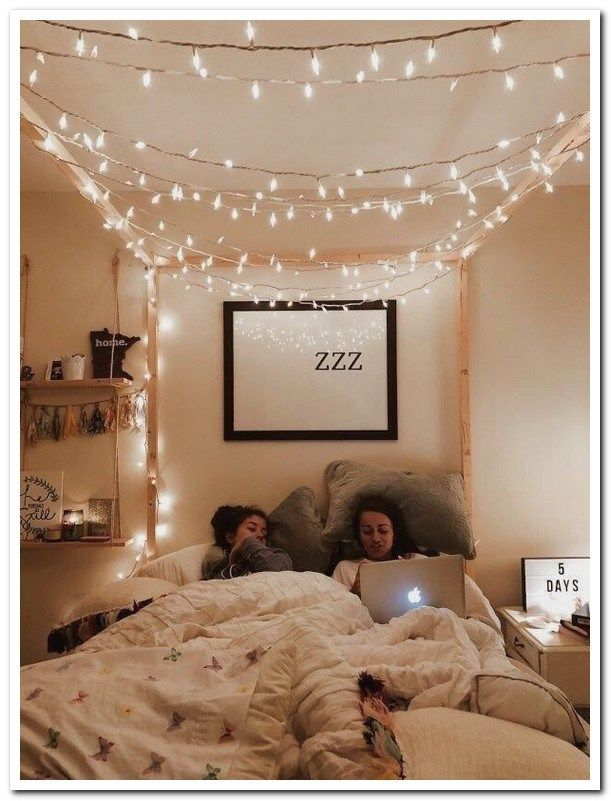 20 Ways To Decorate Your Dorm Room If You Are Obsessed With Fairy Lights Afshin Decor Aesthetic Bedroom Redecorate Bedroom Dorm Room Decor Baru bedroom fairy lights tumblr