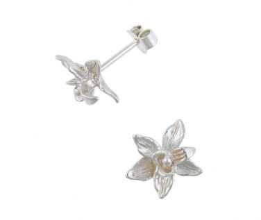 Dower & Hall, Orchid - Solid Carved Nirvana Orchid Stud Earrings