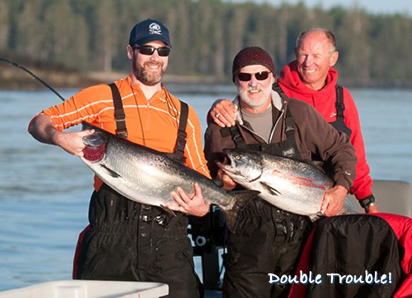 Double Trouble! Father/Son duo Paul and Dylan Leroy caught this impressive double-header of springs off Parker Point in Haida Gwaii. http://www.peregrinelodge.com/blog.php?p=254