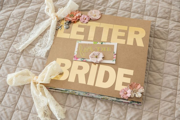 A super custom letter to the bride scrapbook filled with
