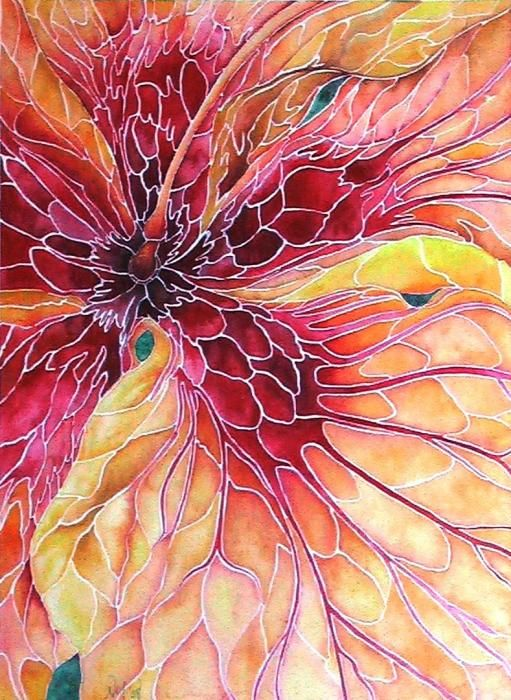 beautiful Hibiscus Mosaic Watercolor by Nancy Hartson-Miller