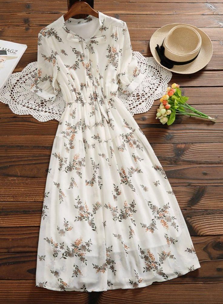 Chiffon Floral Print A-line Dress 9