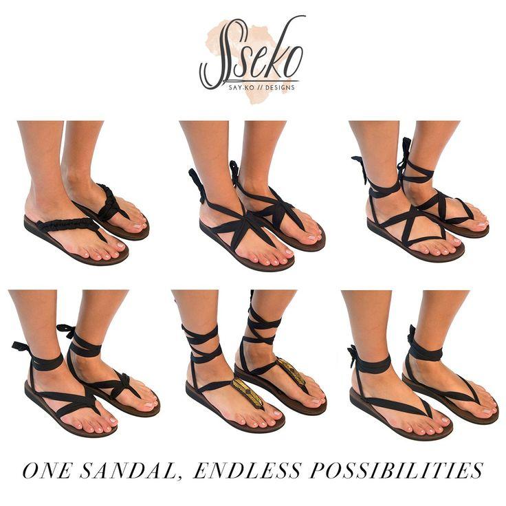 Black Leather Ribbon Sandals | Sseko Designs--Interchangeable sandals