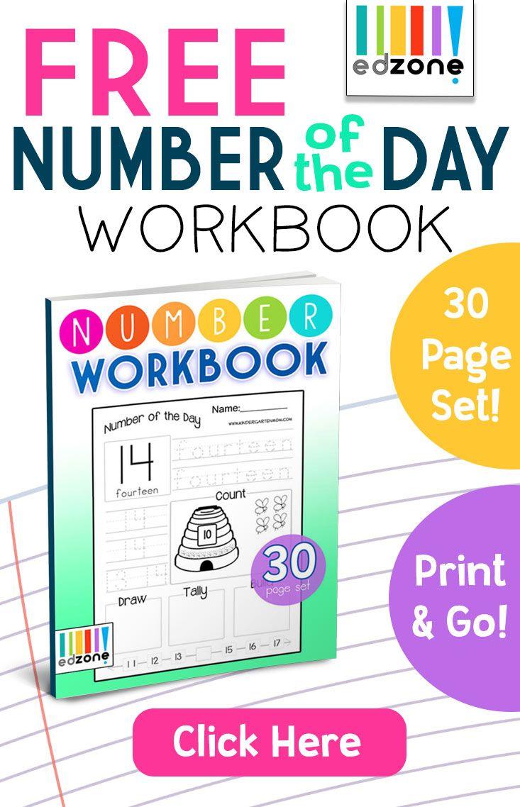 Free Number Of The Day Workbookthis Free Printable Workbook Works On Handwriting Kindergarten Math Worksheets Kindergarten Math Workbook Free Math Worksheets [ 1138 x 733 Pixel ]