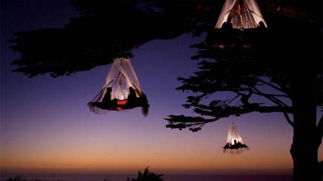 Portaledges (hanging tents) at High Ropes Forest, Germany