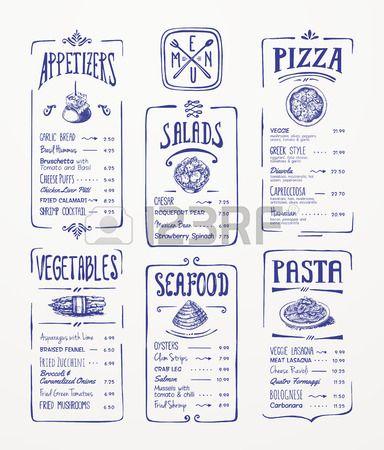 modèle de menu bleu dessin à la plume apéritifs, légumes, salades, fruits de mer, pizza, pâtes