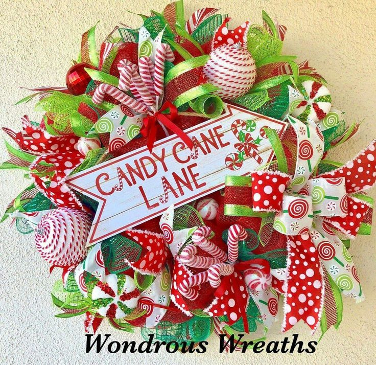 Candy Cane Lane Christmas Wreath with cute wood sign and