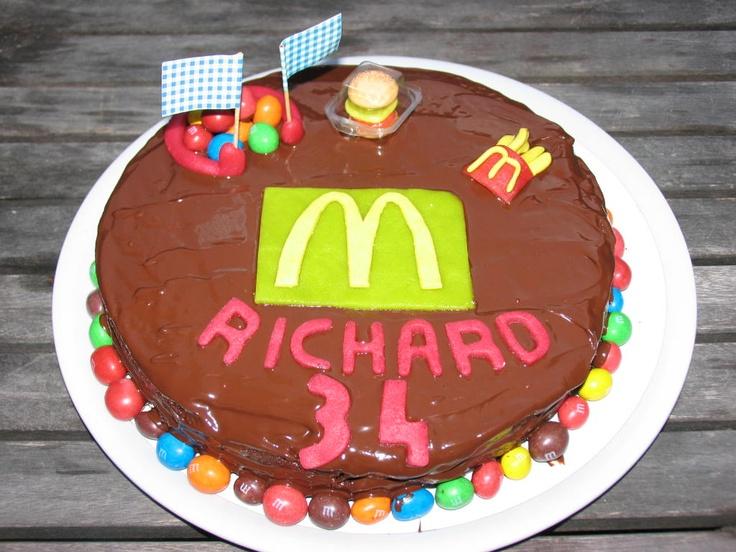 Mc donalds inspired cake :)  with fries, burger and playground