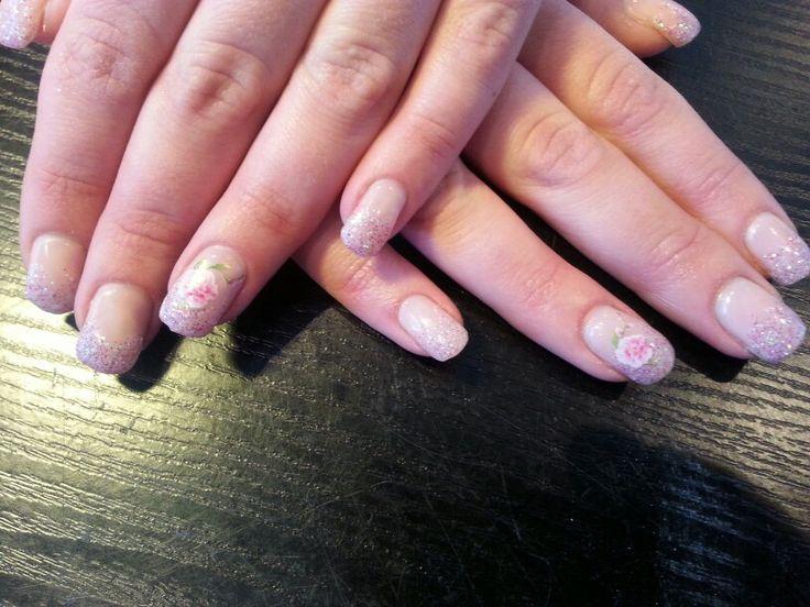 Roze met witte glittertjes