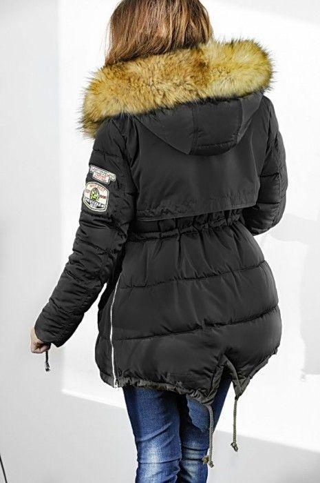 Kurtka damska zimowa parka naszywki jenot militarna asymetryczna czarna model #111 fashionavenue.pl