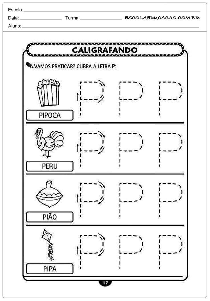 Imprimir atividade de caligrafia letra P | danuza ...