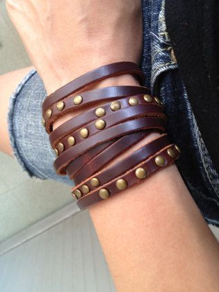 Sliced Brown Leather Double Wrap Cuff Bracelet With Brass Rivets Adjustable With  metal Studs. $10.50, via Etsy.