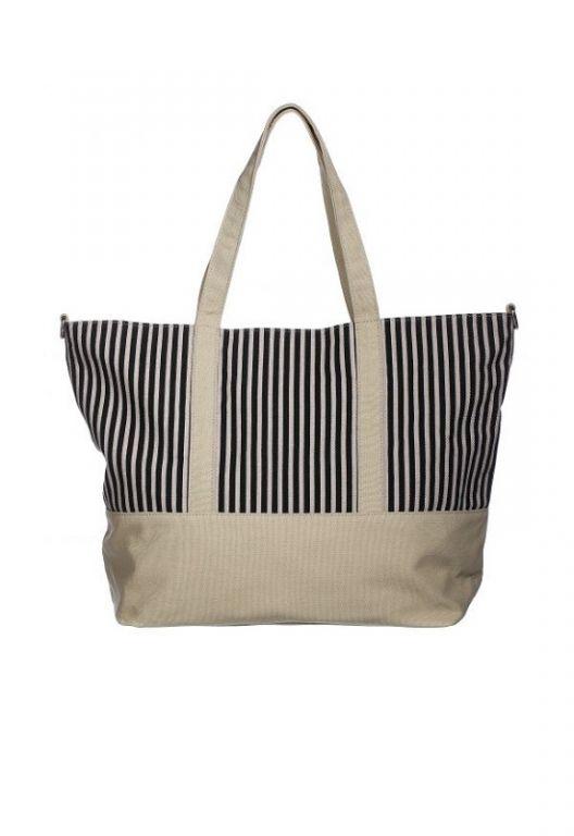 Amust Barcelona bag beige-black stripes