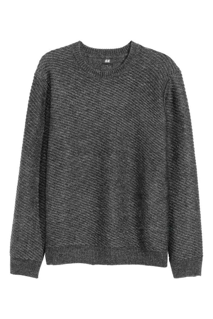 Wool-blend jumper: Jumper knitted in a soft wool blend with ribbing around the neckline, cuffs and hem.