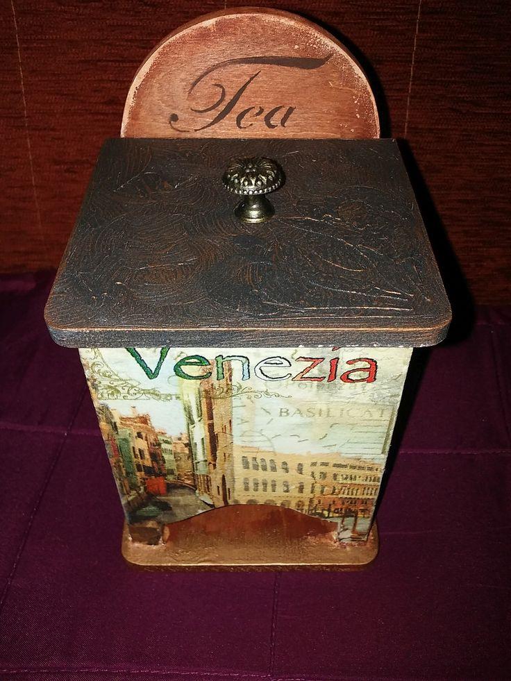 Teafilter tartó doboz, antikolva.
