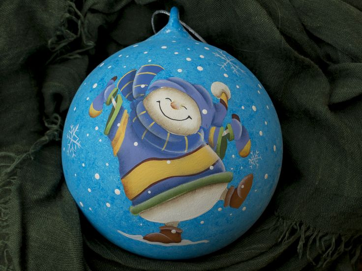 glass ball 12 cm hand painted 'happy snowman'