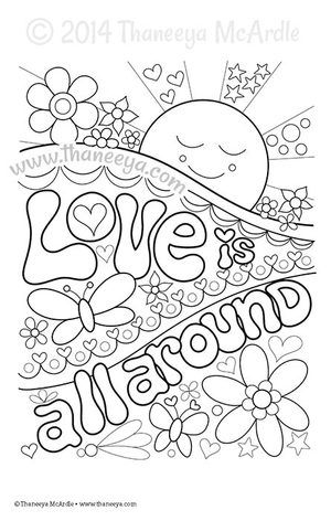love is all around coloring page by thaneeya mcardle - Watercolor Pages